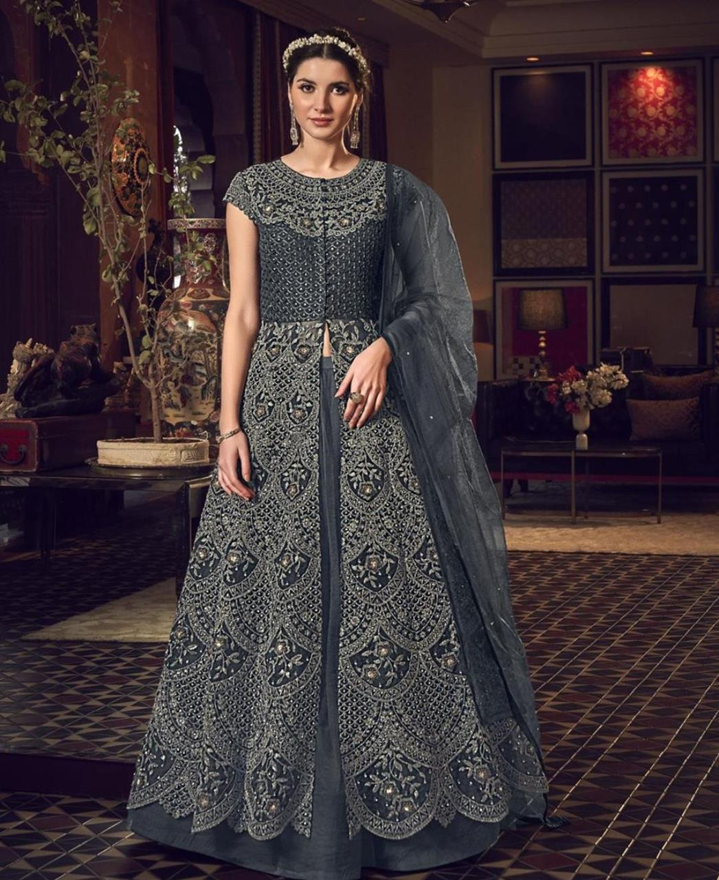 Stone Work Silk Abaya Style Salwar in Dark Grey