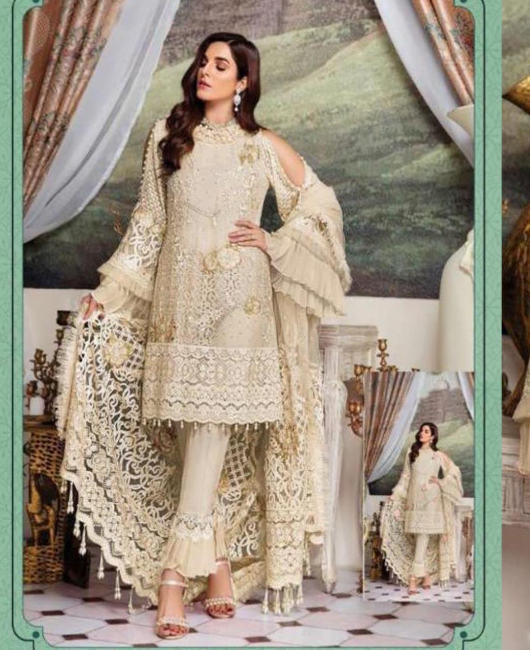Embroidered Georgette Straight cut Salwar Kameez in Cream