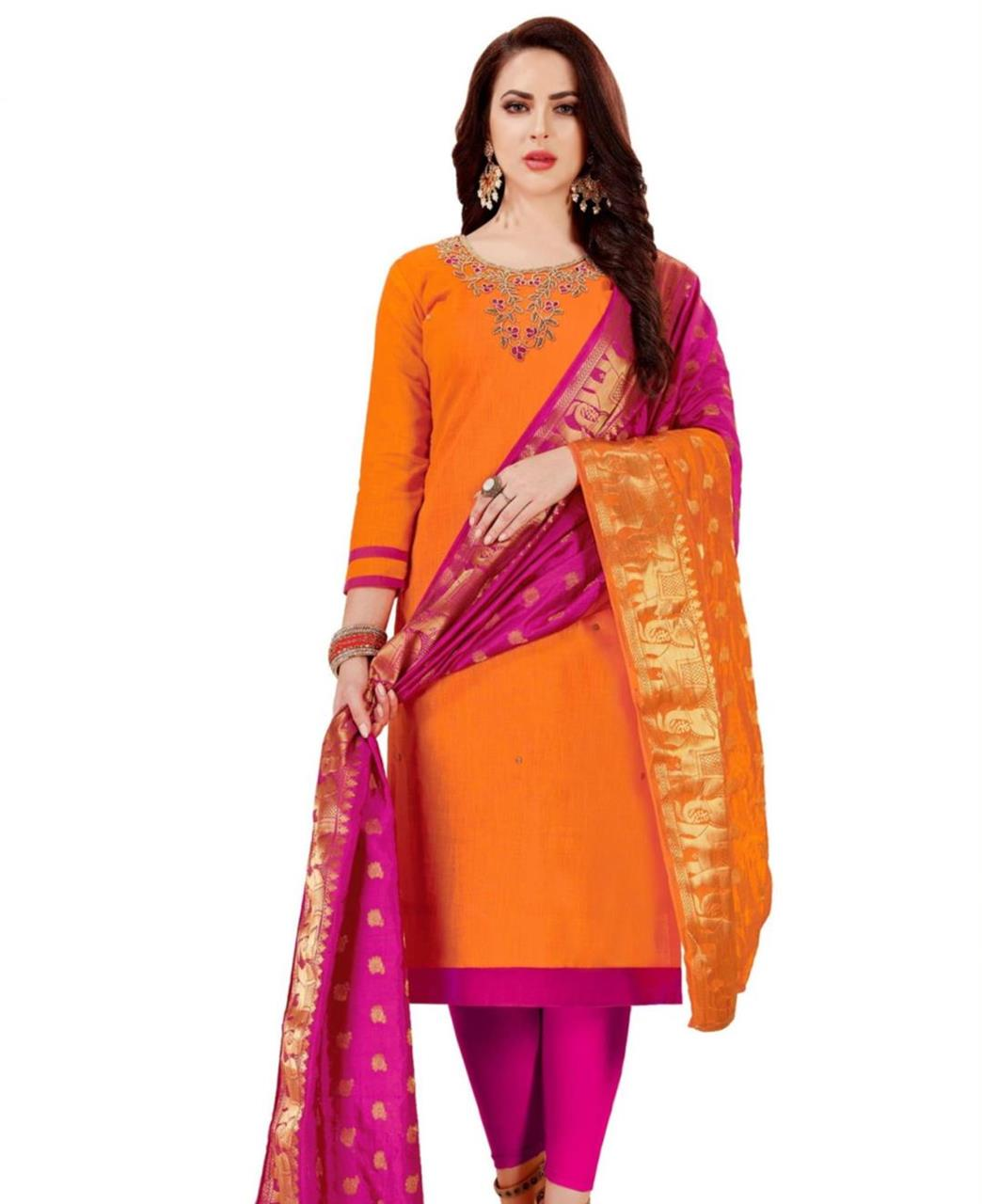 HandWorked Cotton Orange Straight Cut Salwar