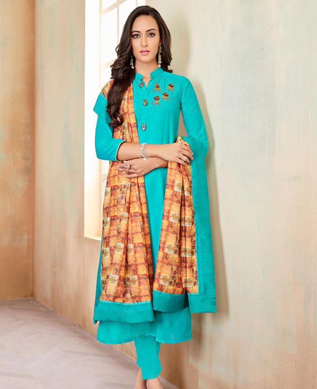 Butta Work Cotton SKYBLUE Straight Cut Salwar