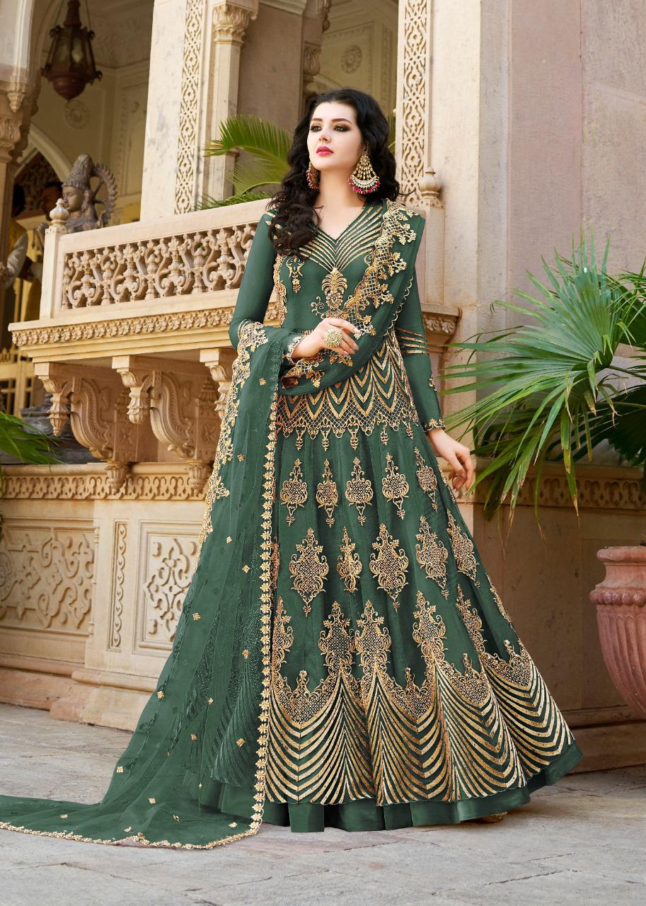 Embroidered Net Green Anarkali Salwar