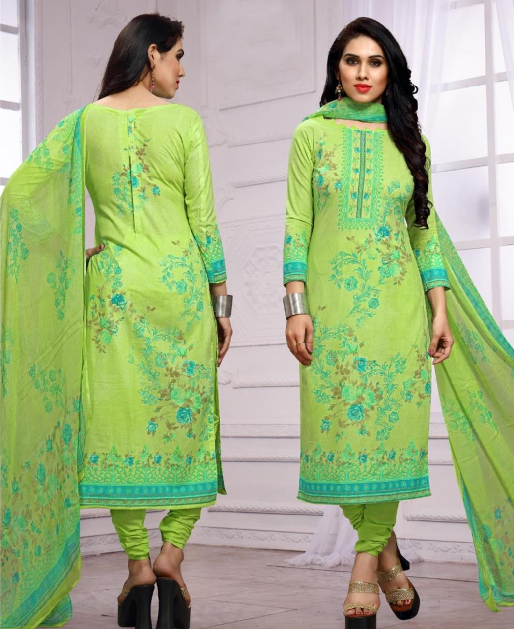 Printed Cotton LimeGreen Straight Cut Salwar