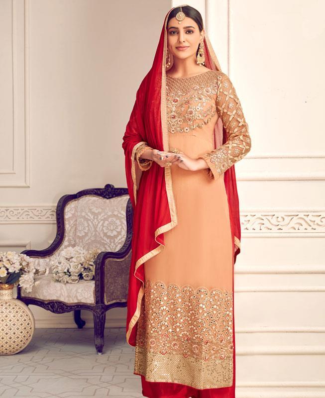 Embroidered Georgette Straight cut Salwar Kameez in Orange  ,  Red