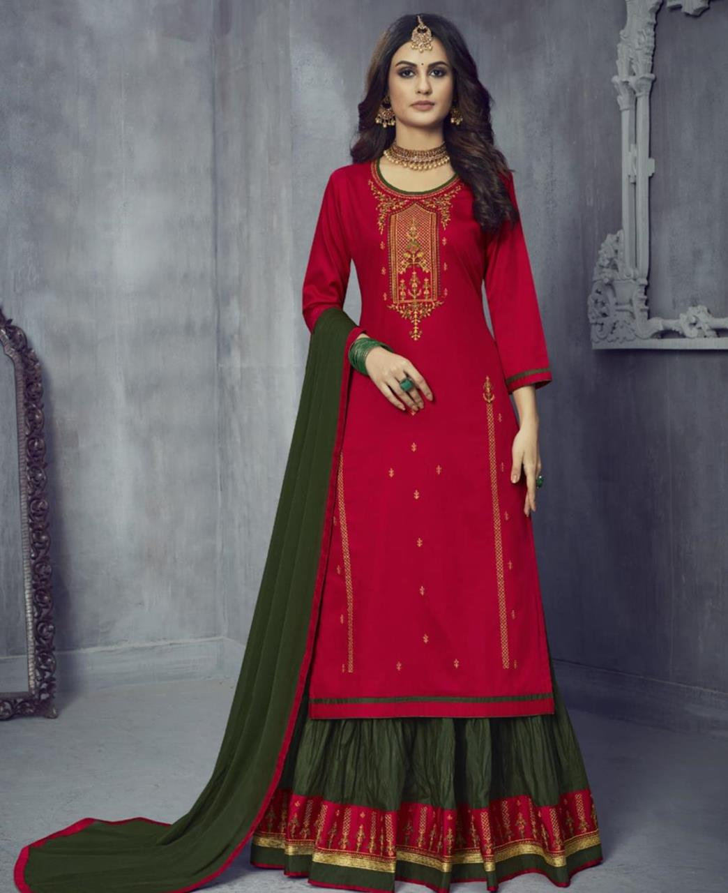 Embroidered Cotton Abaya Style Salwar in Red