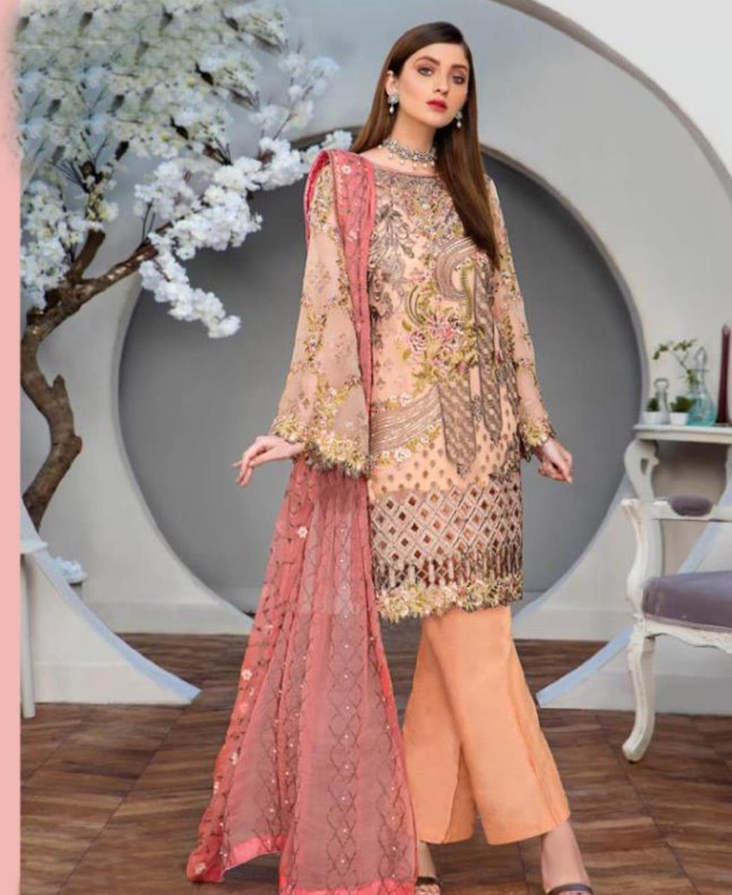 Embroidered Georgette Straight cut Salwar Kameez in Light Orange