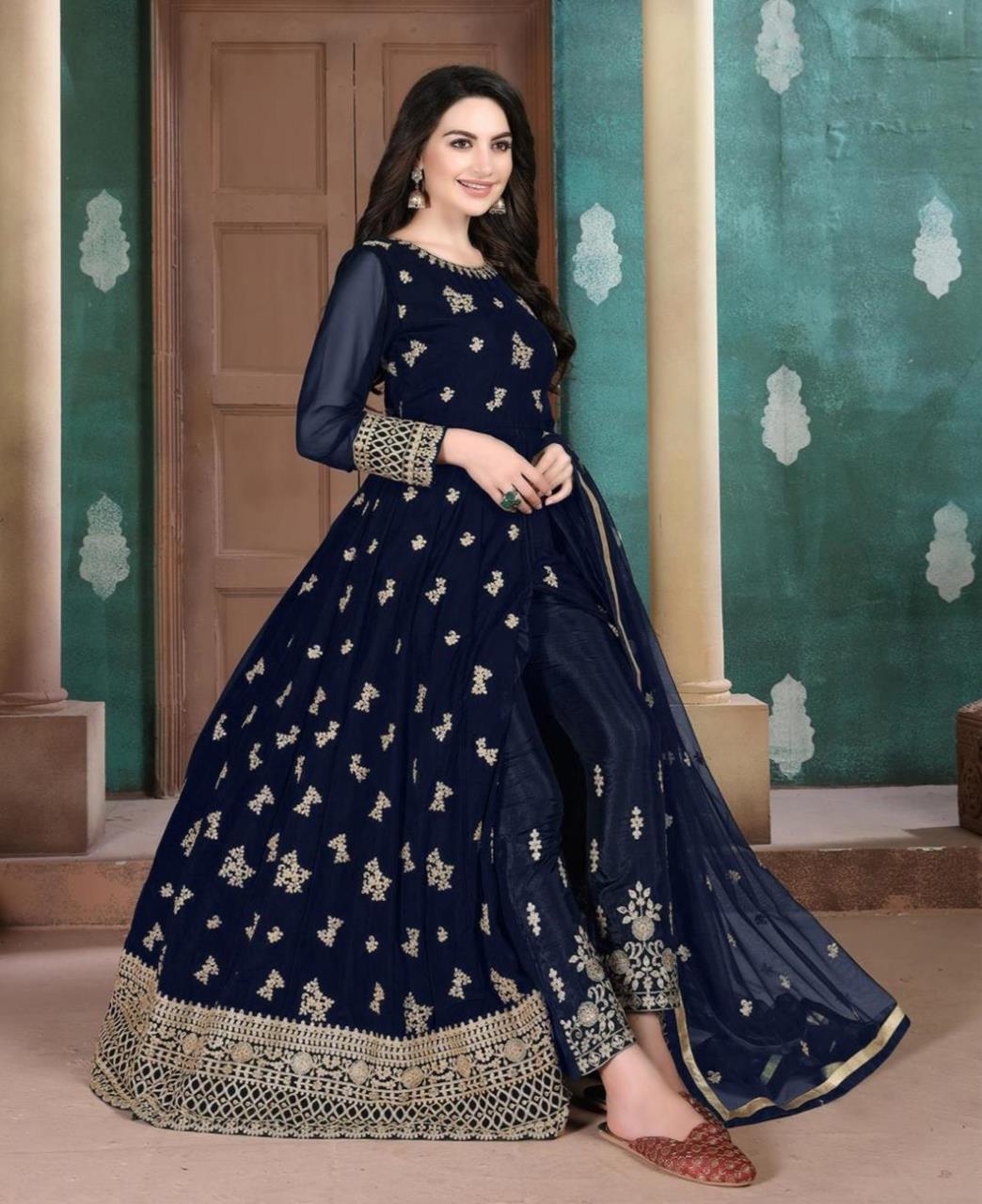 Stone Work Georgette Abaya Style Salwar in Navy Blue