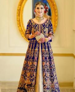 Embroidered Net Abaya Style Salwar in Blue