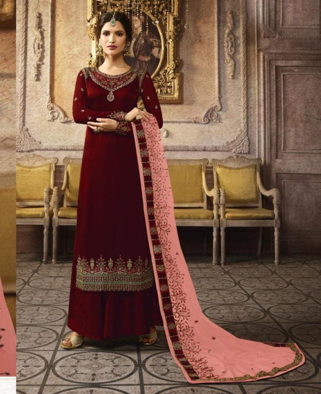 Stone Work Georgette Straight cut Salwar Kameez in Maroon