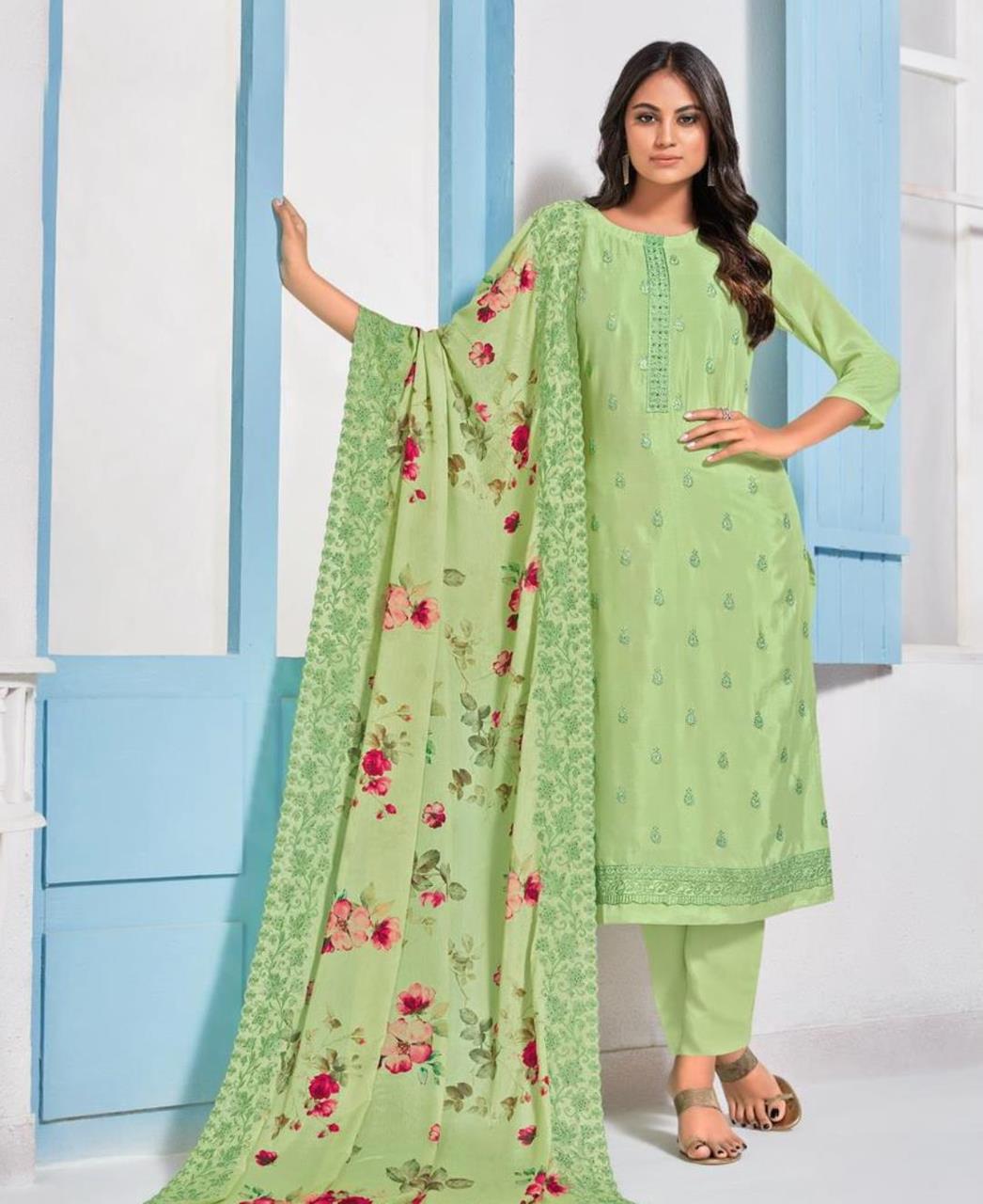 Printed Crepe Straight cut Salwar Kameez in Light Green