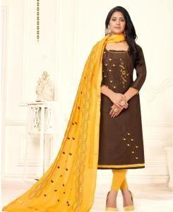 HandWorked Cotton Straight cut Salwar Kameez in Brown