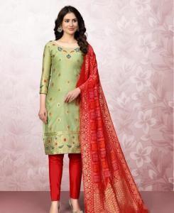 Cotton Straight cut Salwar Kameez in Light Pistta
