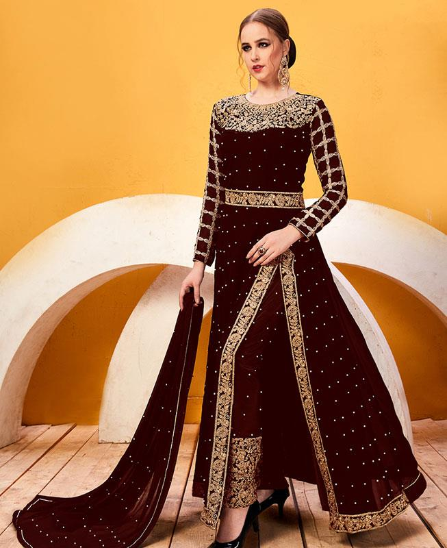 Embroidered Georgette Brown Abaya Style Salwar