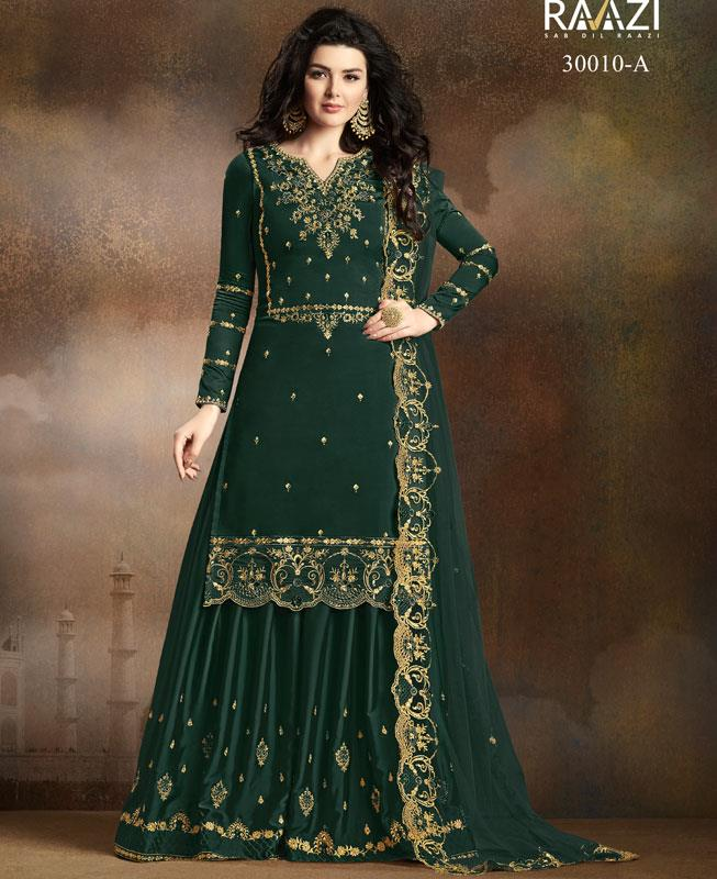 Embroidered Georgette Green Palazzo Suit Salwar Kameez