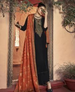 Printed Georgette Straight cut Salwar Kameez in Black