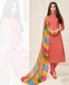 HandWorked Cotton Straight cut Salwar Kameez in Rust Red