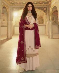 Stone Work Georgette Straight cut Salwar Kameez in Cream