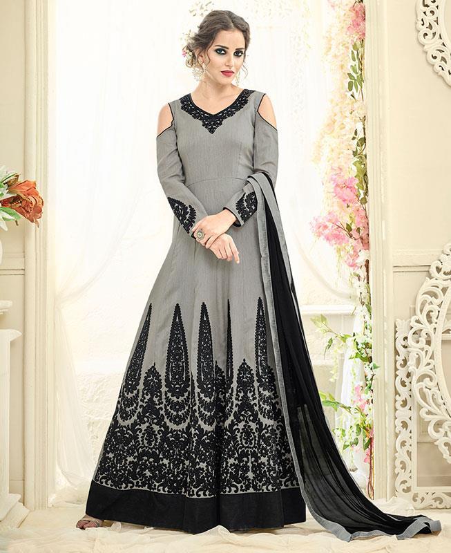 Embroidered Silk Gray Abaya Style  Salwar Kameez
