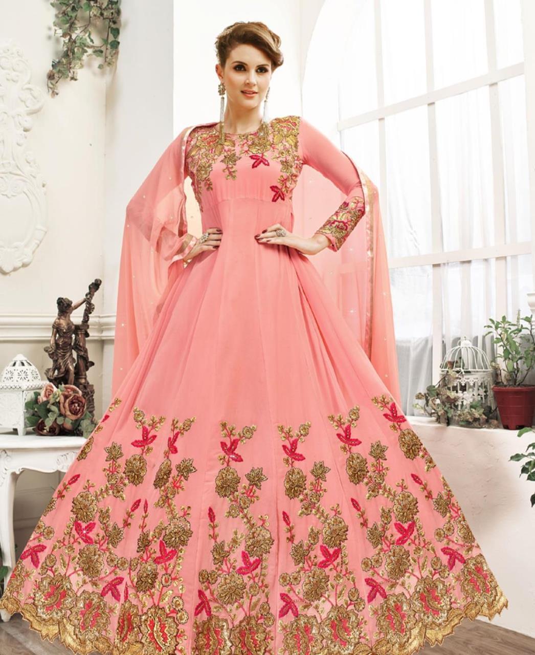Embroidered Georgette Pink Abaya Salwar