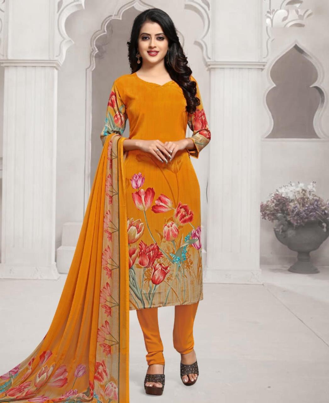 Floral Print Crepe Orange Straight Cut Salwar