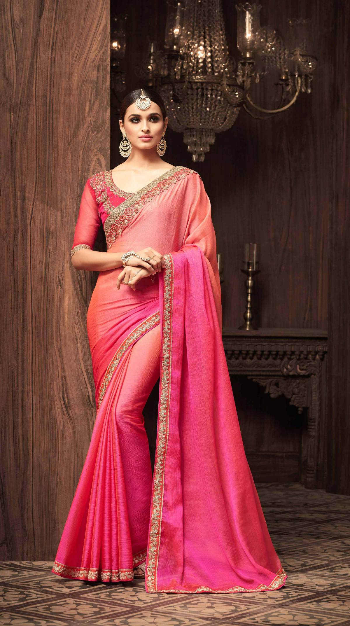 Embroidered Silk Saree (sari) in Pink