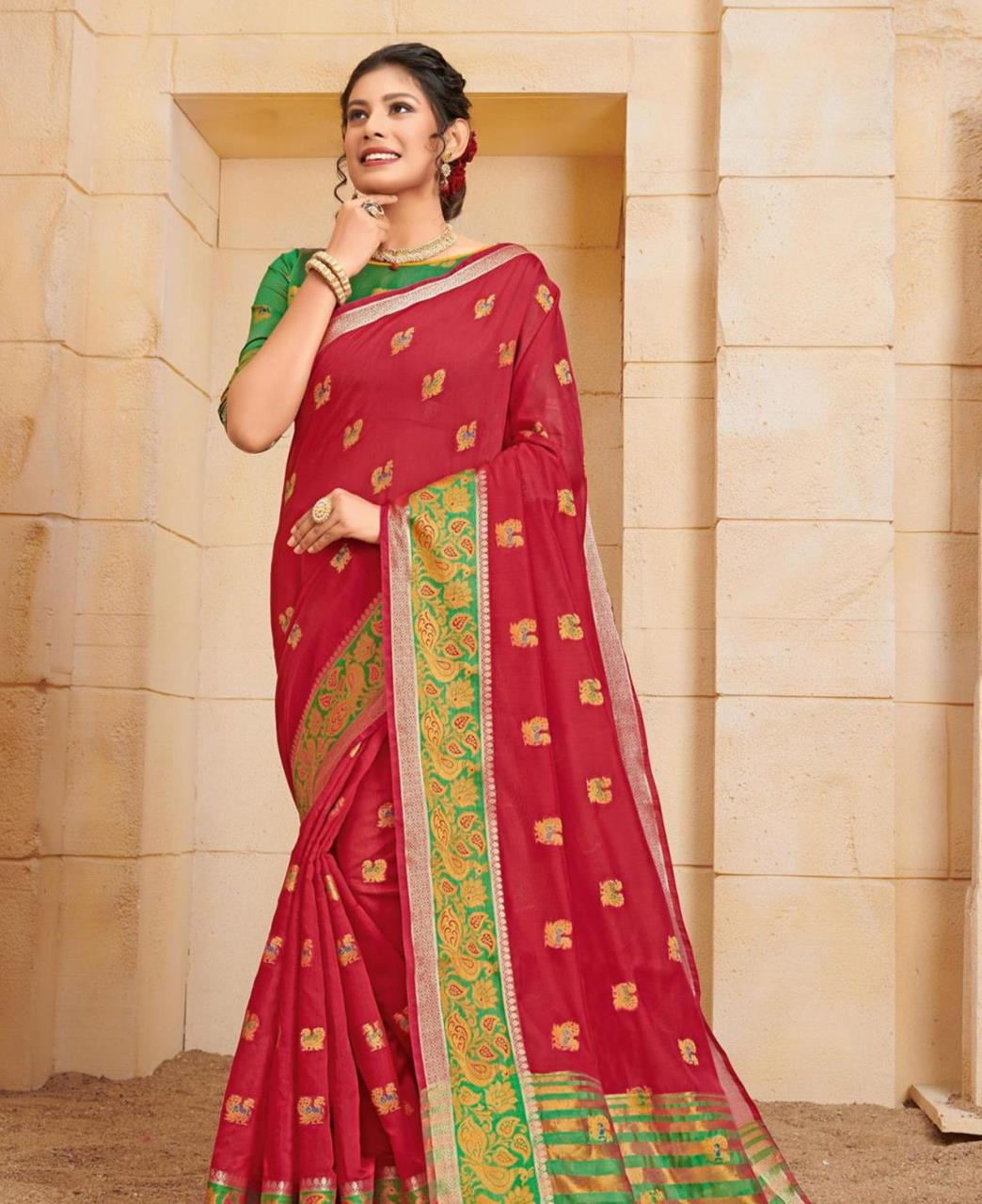 Cotton Saree in Red
