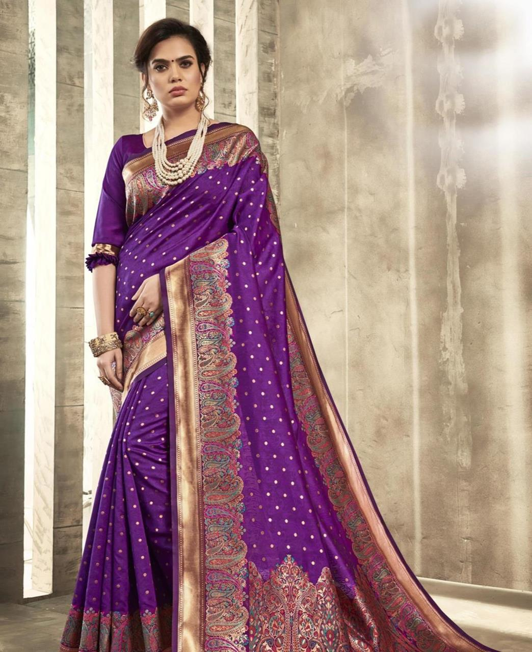 Printed Silk Saree in Purple