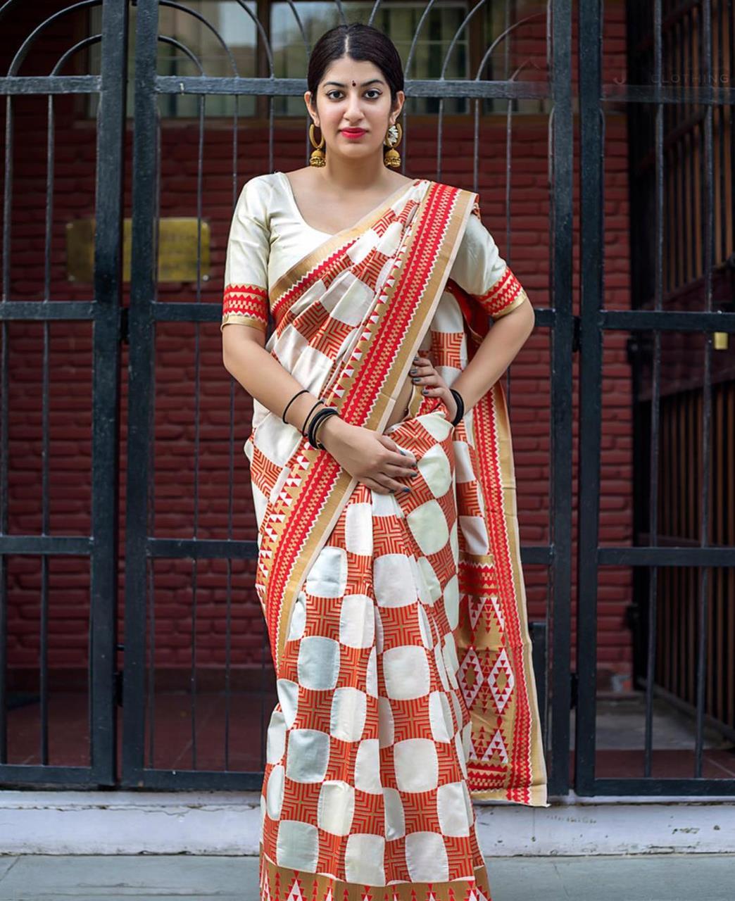 Jari Banarasi Silk Saree (Sari) in Cream