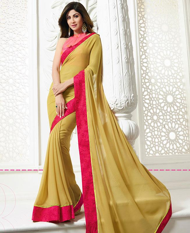 Printed Chiffon Saree in Yellow
