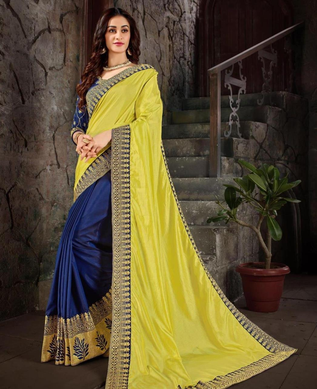 Embroidered Art Silk Saree (Sari) in LimeGreen