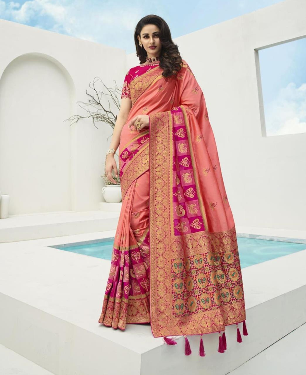 Stone Work Silk Saree in Peach Pink