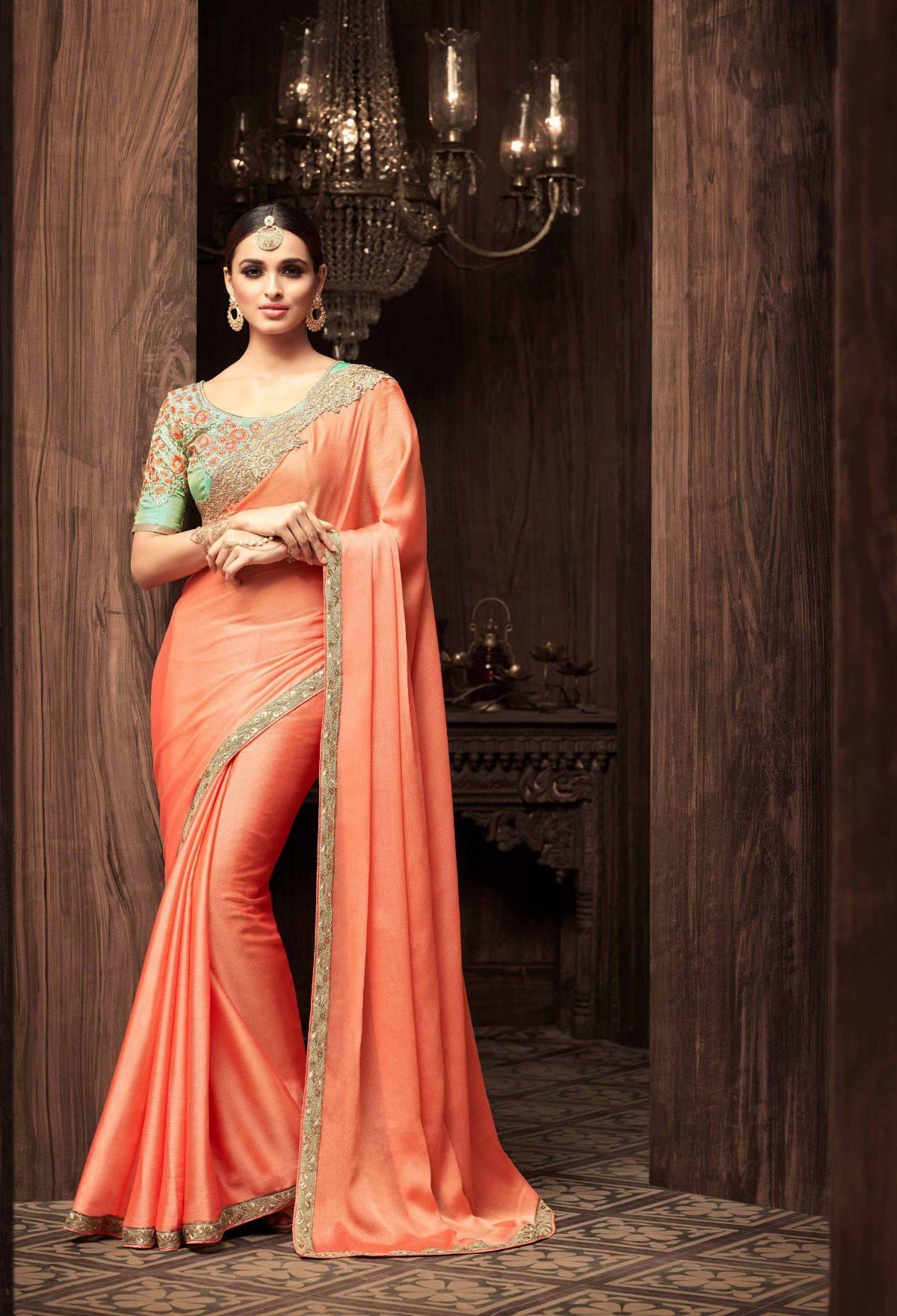 Stone Work Silk Saree (sari) in Orange