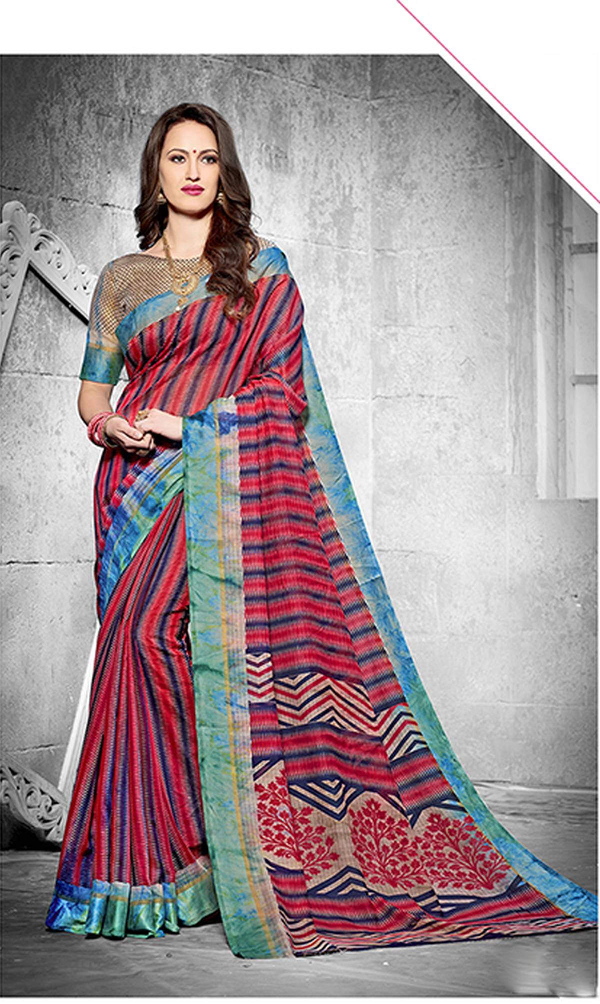 Printed Silk Saree (sari) in Red