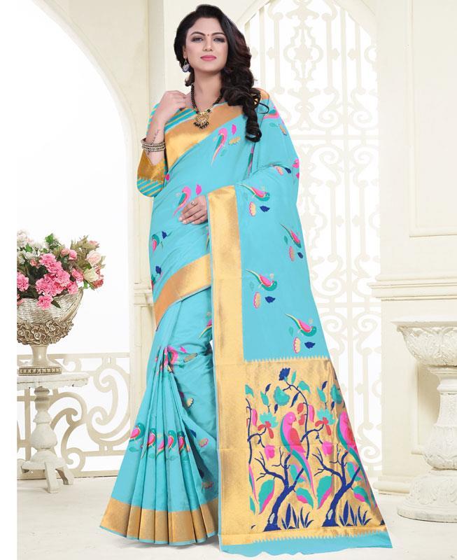 Jacquard Banarasi Silk Saree (Sari) in SKYBLUE