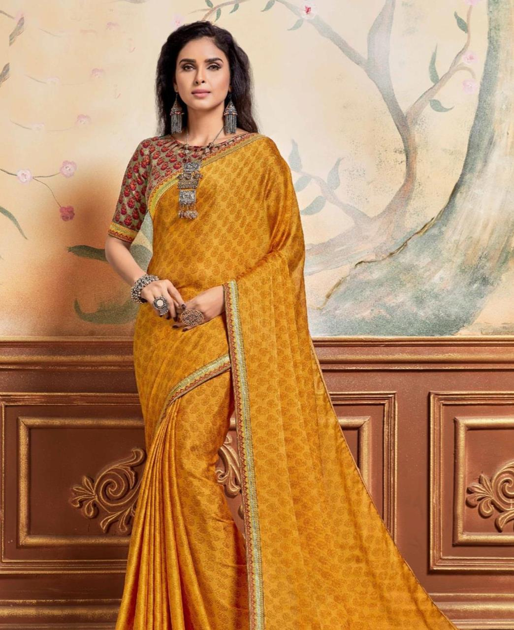 Lace Chiffon Saree in Yellow