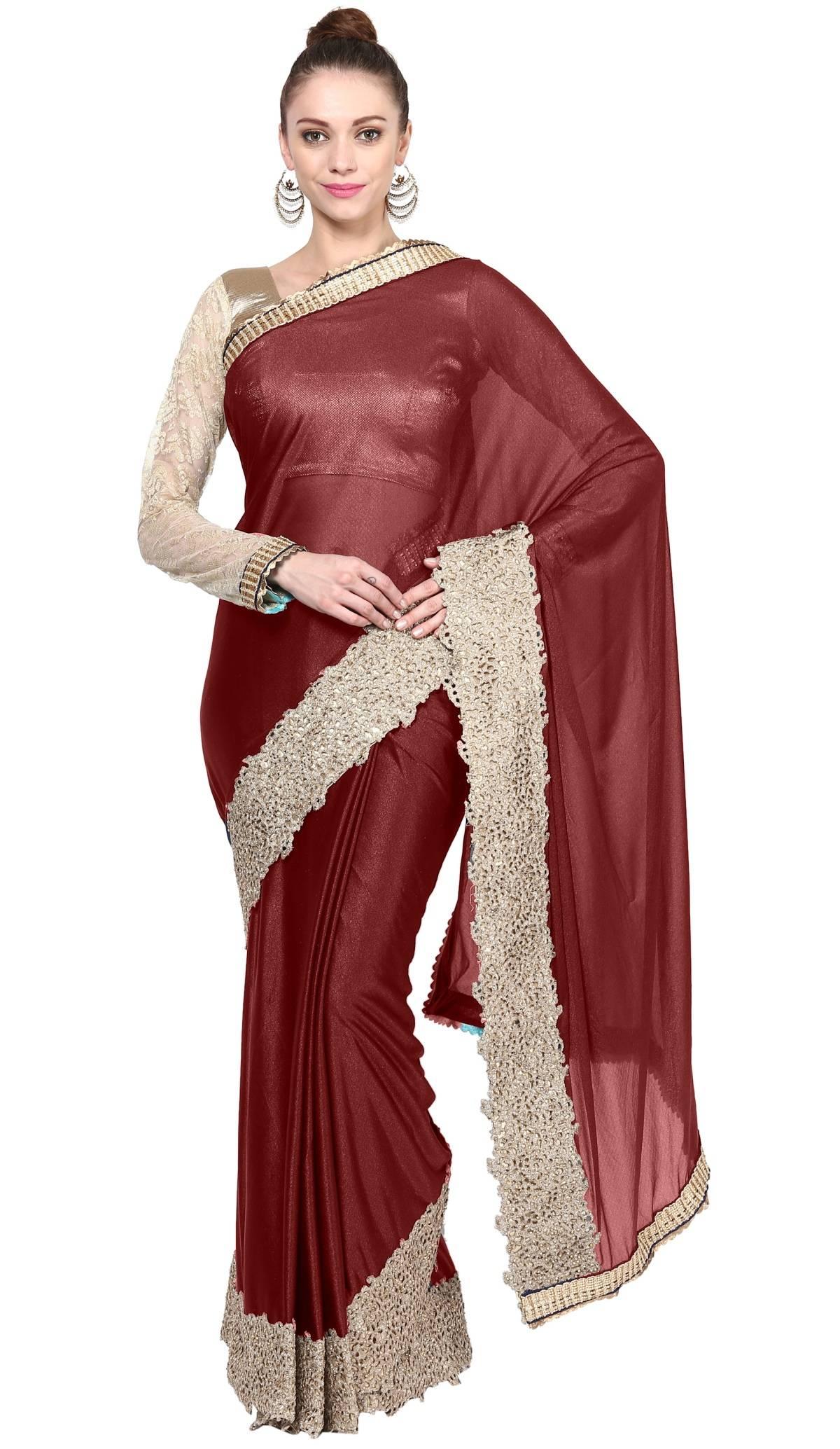 Embellishments Lycra Saree (Sari) in Brown