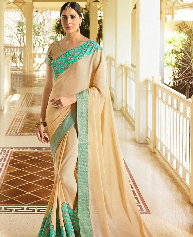 Embroidered Silk Saree (Sari) in Yellow