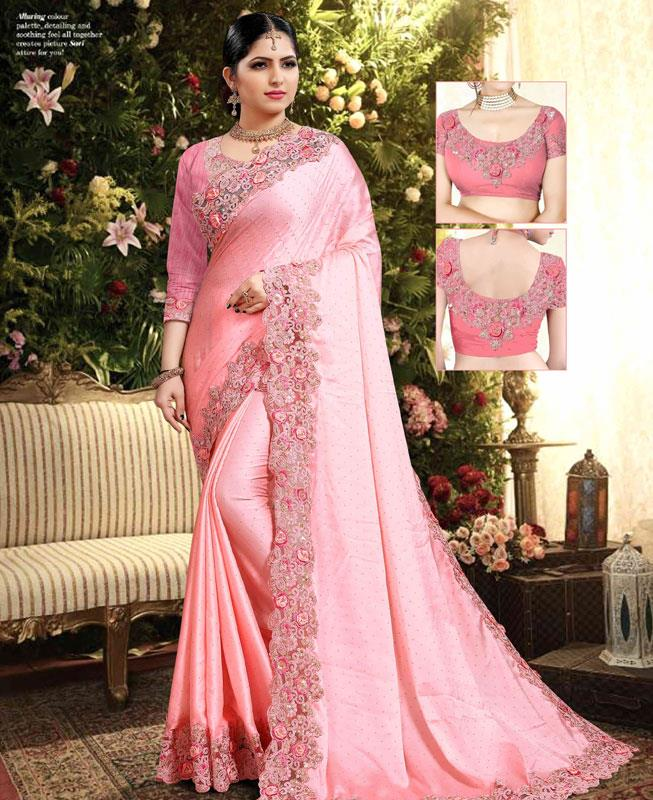 Georgette Saree in Pink