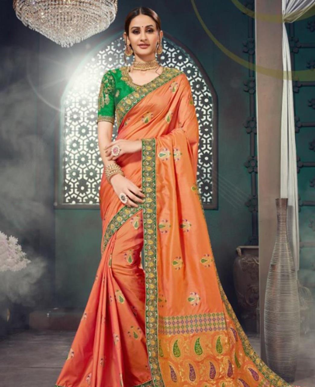 Embroidered Cotton Saree in Orange