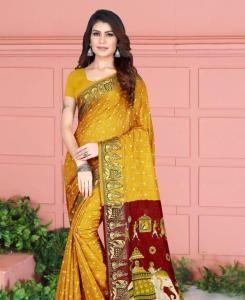 Printed Silk Saree in Musterd
