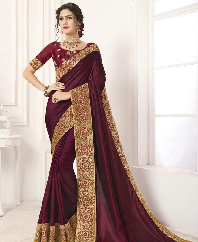 Embroidered Silk Saree in Maroon