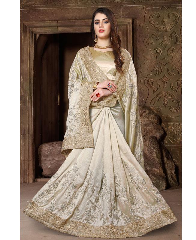 Embroidered Silk Saree (Sari) in Offwhite