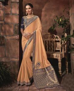 Lace Satin Saree in Cream