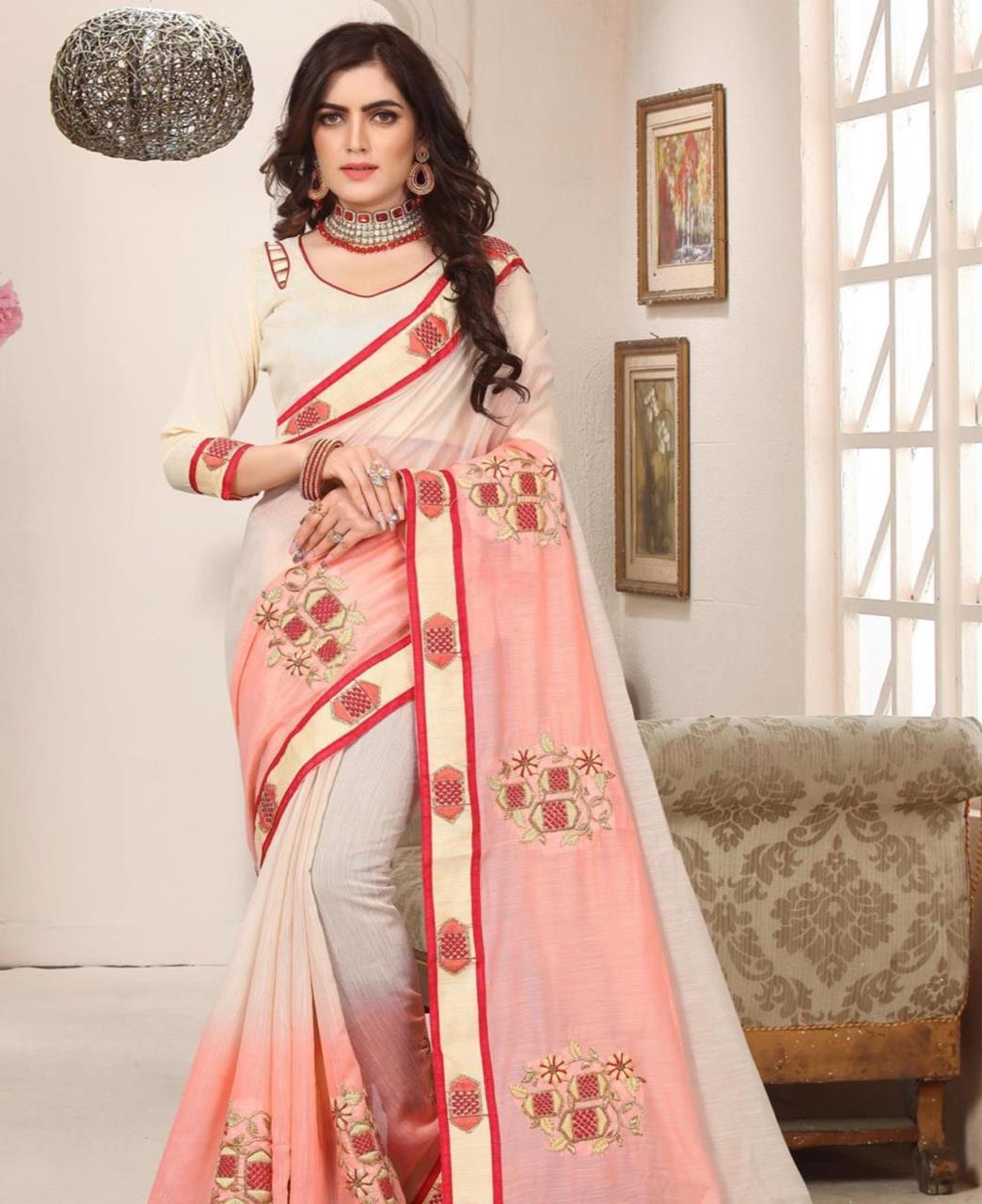 Border Work Silk Saree (Sari) in Cream