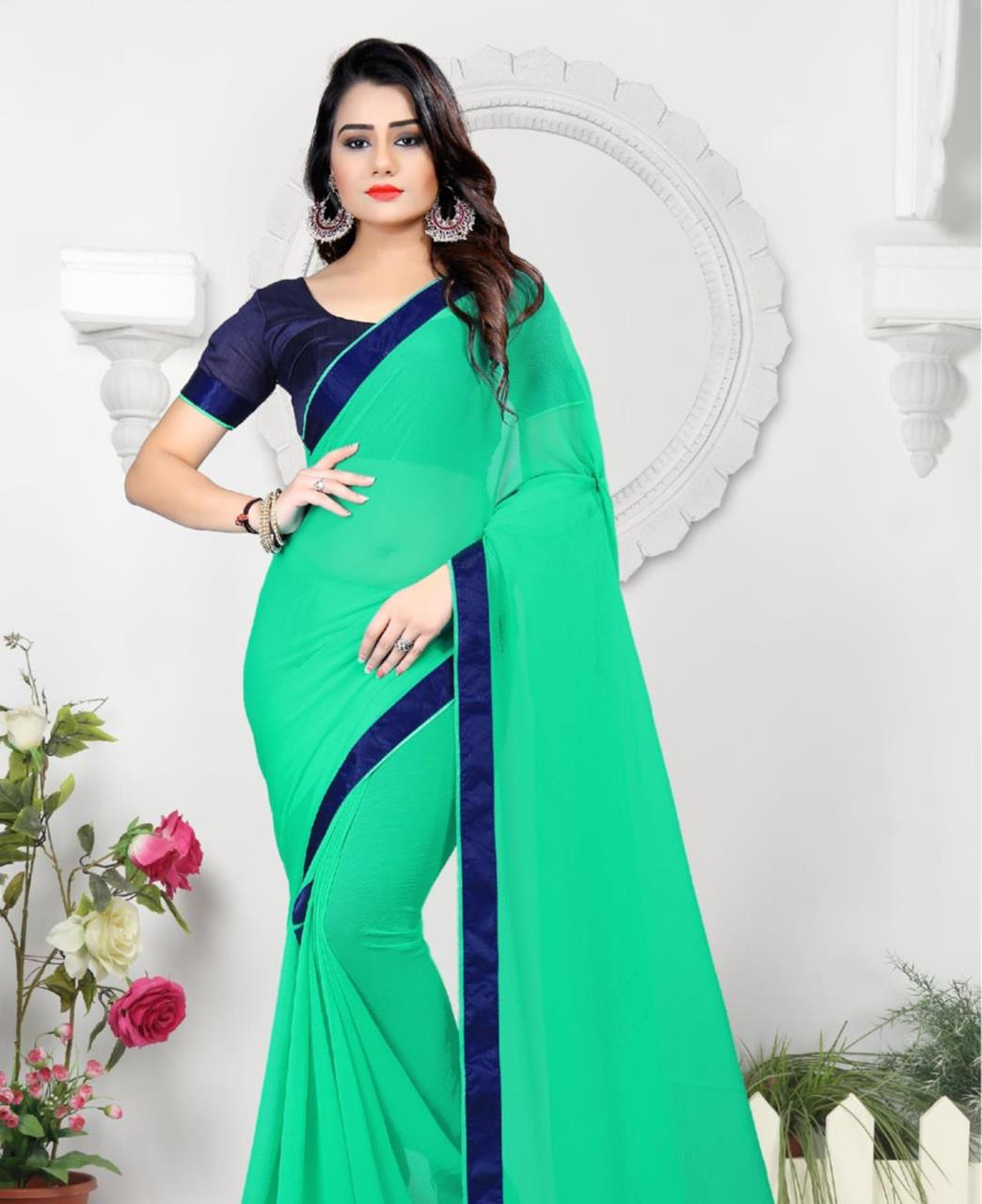 Lace Chiffon Saree (Sari) in SKYBLUE