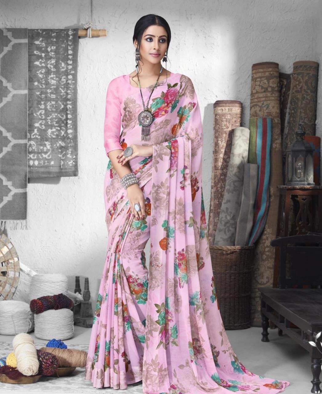 Printed Chiffon Saree in Light Pink