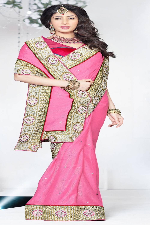 Border Work Faux Georgette Saree (Sari) in Pink