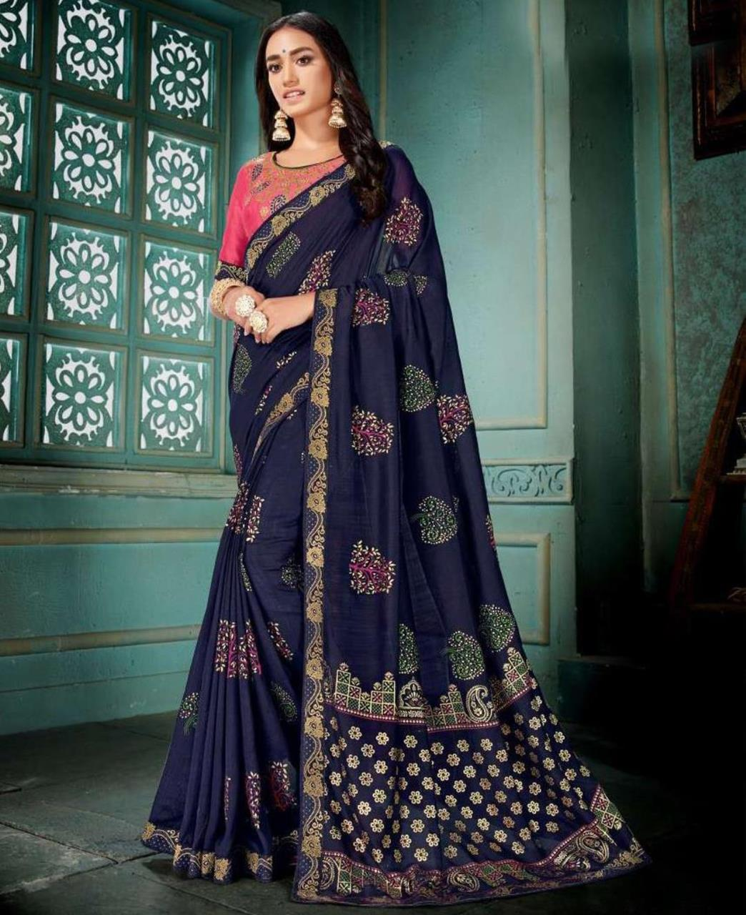 Embroidered Silk Saree in Navyblue