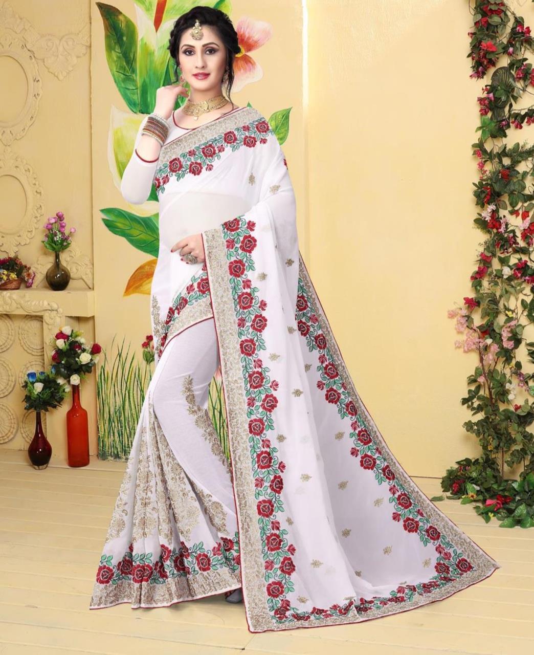Resham Georgette Saree (Sari) in White