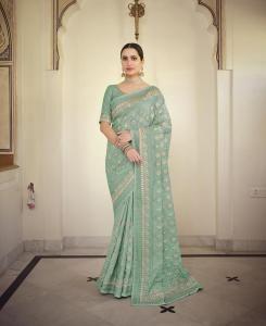 Resham Chiffon Saree in Mint Blue