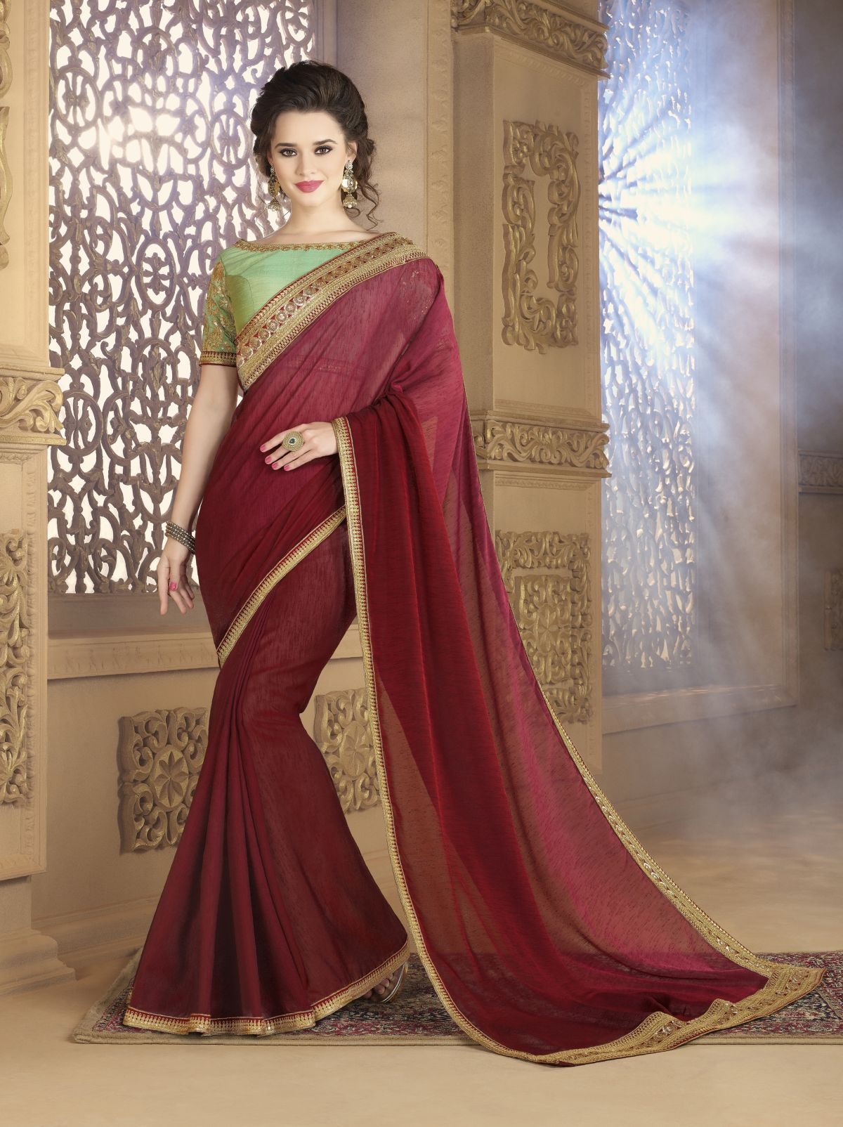 Embroidered Georgette Saree (Sari) in Maroon